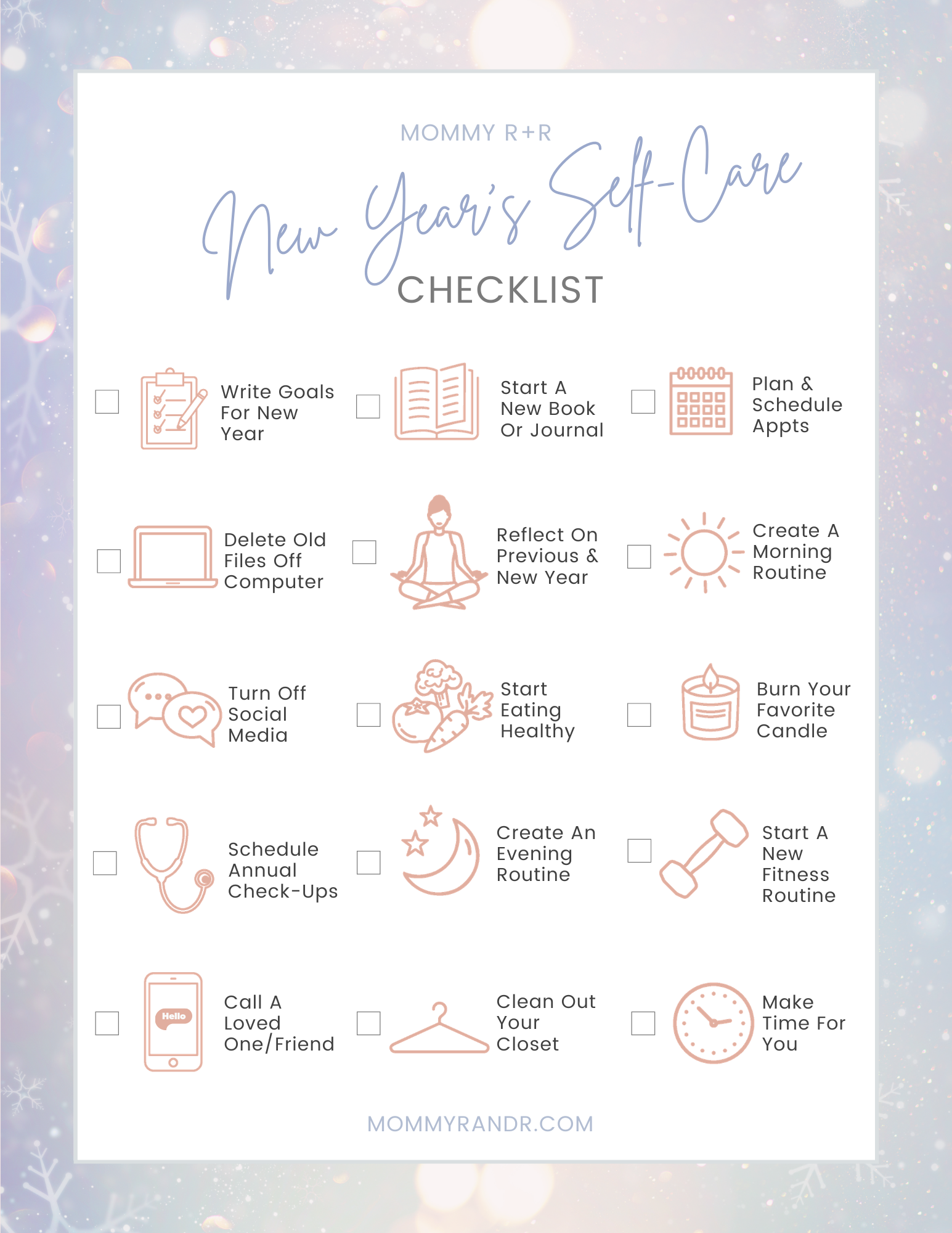 Self-Care Checklist mommyrandr valerie pierre